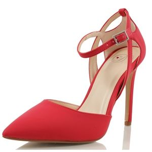Size 10 Red Pointy Toe Cut Out Side Ankle Strap